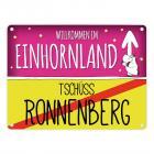 Willkommen im Einhornland - Tschüss Ronnenberg Einhorn Metallschild