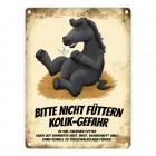 Metallschild mit schwarzes Pferd Motiv und Spruch: Bitte nicht füttern - Kolik-Gefahr