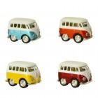 Volkswagen VW T1 Bus Comic Style Modellautos mit Rückziehmotor im 4er Set