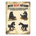 Metallschild mit schwarze Pferde Motiv und Spruch: Bitte nicht füttern