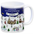 Geldern Weihnachten Kaffeebecher mit winterlichen Weihnachtsgrüßen
