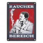 Metallschild mit Raucherbereich rauchender Gentleman Motiv