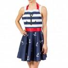 Rockabilly Kleid Kochschürze mit Anker-Motiv