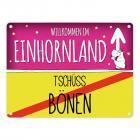 Willkommen im Einhornland - Tschüss Bönen Einhorn Metallschild