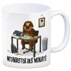 Kaffeebecher mit Faultier im Büro Motiv und Spruch: Mitarbeiter des Monats