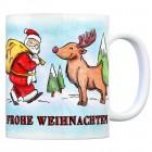Kaffeebecher mit Weihnachtsmann, Rentier, Lebkuchen, Schneemann Motiv und Spruch: Frohe Weihnachten