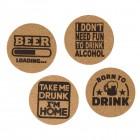 Alkohol Sprüche Untersetzer aus Kork im 4er Set