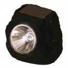 Stein Dekolampe in schwarz mit Solarzelle und LED
