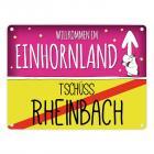 Willkommen im Einhornland - Tschüss Rheinbach Einhorn Metallschild
