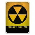 Atomschutzbunker Metallschild mit Spruch: Fallout Shelter