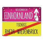 Willkommen im Einhornland - Tschüss Rheda-Wiedenbrück Einhorn Metallschild