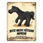 Metallschild mit schwarzes Pferd Motiv und Spruch: Bitte nicht füttern - Hufrehe