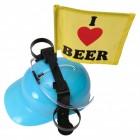 I love beer Trinkhelm mit Fahne in blau