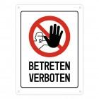 Betreten verboten Warn- und Hinweisschild in Weiß mit Piktogramm