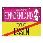 Willkommen im Einhornland - Tschüss Essen Einhorn Metallschild