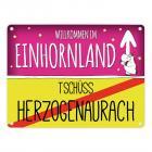 Willkommen im Einhornland - Tschüss Herzogenaurach Einhorn Metallschild