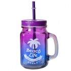 Beach Life Trinkglas mit Strohhalm in lila