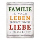 Familie ist Leben und Liebe Blechschild in 15x20 cm