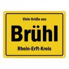 Viele Grüße aus Brühl, Rheinland, Rhein-Erft-Kreis Metallschild