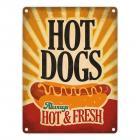 Metallschild mit American Diner Classics - Hot Dogs Motiv
