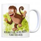 Kaffeebecher mit Affe Motiv und Spruch: Mein Arbeitstag in drei Worten: ...