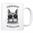 Coole Katze Kaffeebecher mit Spruch: Wir sind die geilsten hier