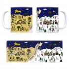 Kaffeebecher mit Weihnachtslandschaften Motiv