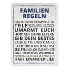 Das Familien Regeln Metallschild in 15x20 cm