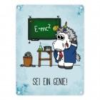 Honeycorns Metallschild mit Einhorn Motiv und Spruch: Sei ein Genie!