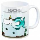 Sternzeichen Kaffeebecher mit Einhorn Fische Motiv