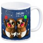 Kaffeebecher mit Faultier Sternzeichen Zwillinge Motiv