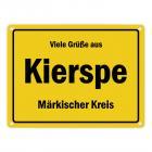 Viele Grüße aus Kierspe, Märkischer Kreis Metallschild