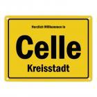 Herzlich willkommen in Celle, Kreisstadt Metallschild