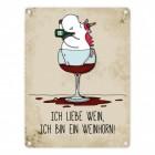 Honeycorns Einhorn Metallschild mit Spruch: Ich bin ein Weinhorn!