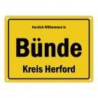 Herzlich willkommen in Bünde, Kreis Herford Metallschild