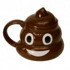Poo Kackhaufen Kaffeebecher mit Deckel und lustiger Fratze