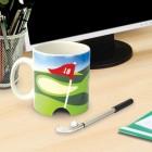 Golf Tasse mit Ball und Schläger als Stift