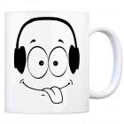 Tassengesichter Kaffeebecher mit Kopfhörer Motiv