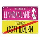 Willkommen im Einhornland - Tschüss Ostfildern Einhorn Metallschild