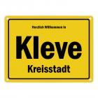 Herzlich willkommen in Kleve, Niederrhein, Kreisstadt Metallschild