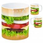 Foto Kaffeebecher mit Cheeseburger Motiv