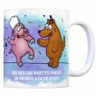 Kaffeebecher mit Party Tiere Motiv und Spruch: Die besten Partys finden in meiner ...