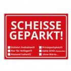 Die Scheisse Geparkt! Notizzettel mit StVO für die Windschutzscheibe in rot