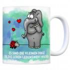 Kaffeebecher mit Elefant und Marienkäfer Motiv und Spruch: Es sind die kleine Dinge die das ...