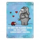 Metallschild mit Elefant & Käfer Motiv und Spruch: Es sind die kleinen Dinge...
