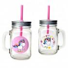 Comic-Einhorn Gläser mit Strohhalm in rosa und weiß im 2er Set