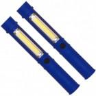2er Set COB-LED Taschenlampen in blau mit Magnet
