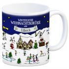 Lübeck Weihnachten Kaffeebecher mit winterlichen Weihnachtsgrüßen