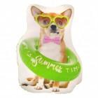 Hund mit Sommeroutfit Kissen