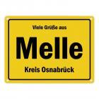 Viele Grüße aus Melle, Wiehengeb, Kreis Osnabrück Metallschild